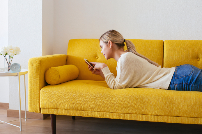 BARCELONA, SPAIN. Blonde woman at home.